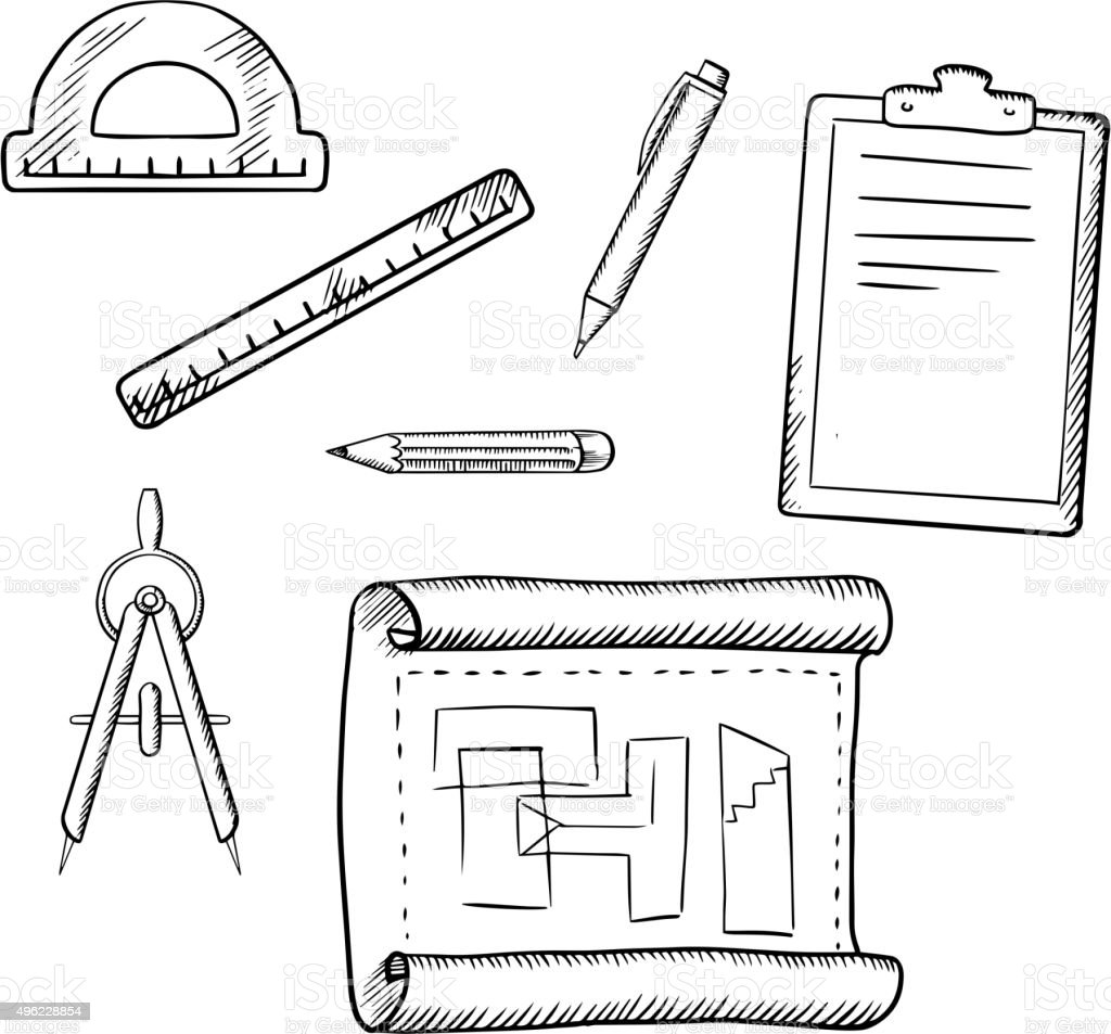 Architect Drawing And Tools Sketches Stock Vector Art