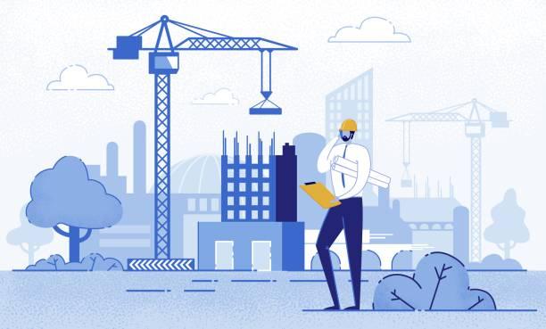 Architect Holding Blueprints near Construction.