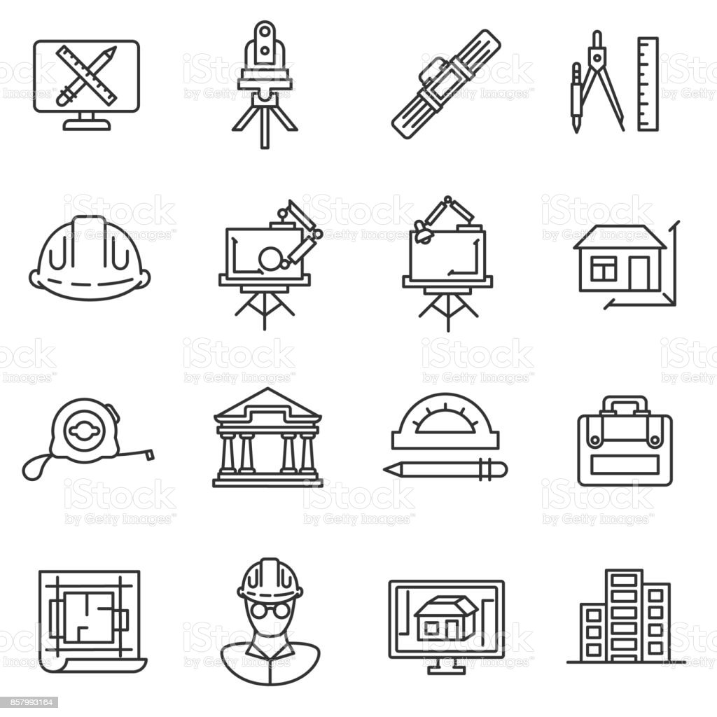 architect icons set. vector art illustration