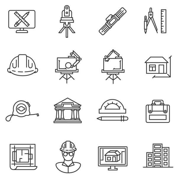 stockillustraties, clipart, cartoons en iconen met architect pictogrammen instellen. - interior design