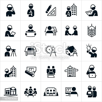 A set of architect and architectural related icons. The icons include different work situations involving architects, an architect working at a computer, talking on a phone, wearing a hard hat, holding a blueprint, reviewing a blueprint, working at a drafting table, shaking hands and siting in a group meeting. The set also includes drawing items, drafting table, drawing compass, blueprint, buildings, bridge and other related icons.