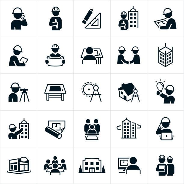 architect icons - projektant stock illustrations