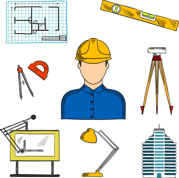 bildbanksillustrationer, clip art samt tecknat material och ikoner med architect or engineer with construction symbols - construction workwear floor
