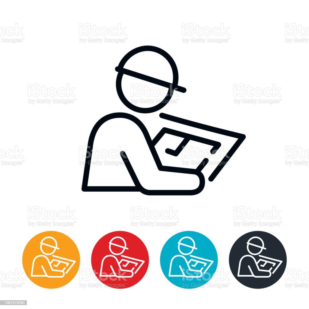 Architect Reviewing Blueprints Icon vector art illustration