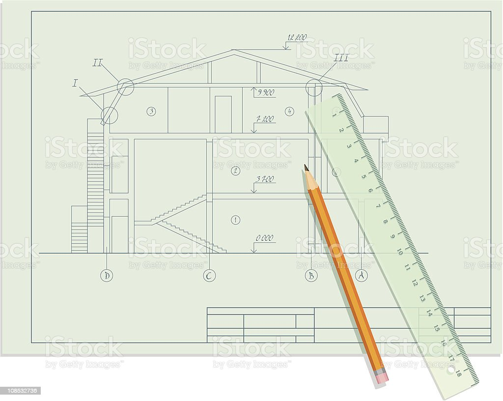 Architect sketch blueprint of house with pencil and ruler stock architect sketch blueprint of house with pencil and ruler royalty free architect sketch blueprint malvernweather Images