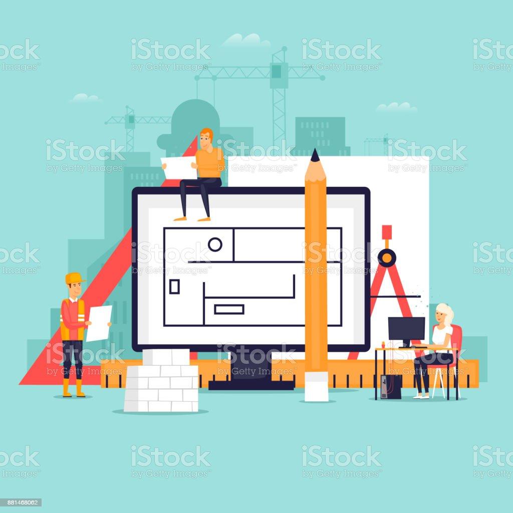 Architekt, Arbeitsbereich und Werkzeuge. Flaches Design-Vektor-Illustration. – Vektorgrafik