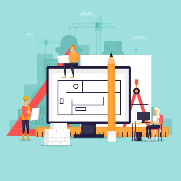 architect workspace and tools. flat design vector illustration. - architect stock illustrations, clip art, cartoons, & icons