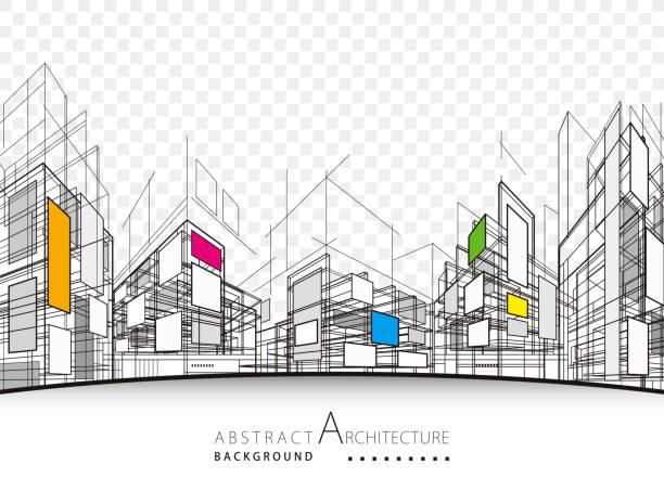 architectural abstract background - abstract architecture stock illustrations