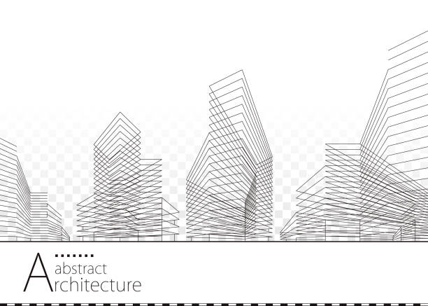 mimari soyut bina tasarımı - abstract architecture stock illustrations