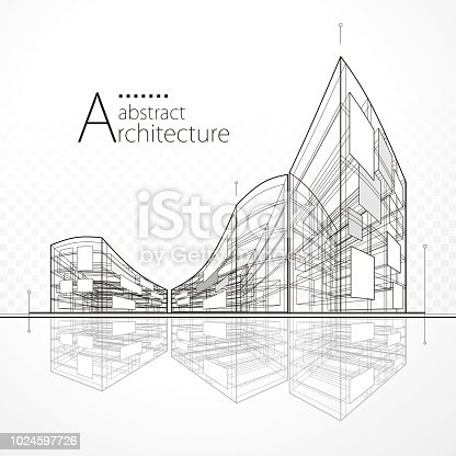 Architecture perspective abstract modern urban building drawing background.