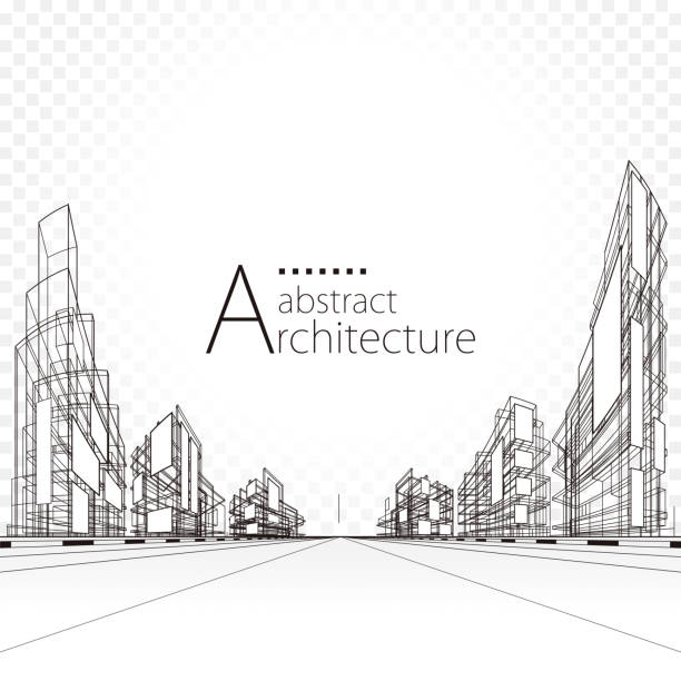 mimari soyut tasarım - abstract architecture stock illustrations