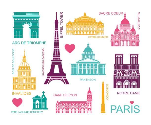 stockillustraties, clipart, cartoons en iconen met architectonische en historische bezienswaardigheden van parijs. set van hoge kwaliteit iconen. vector liiustrations - monument