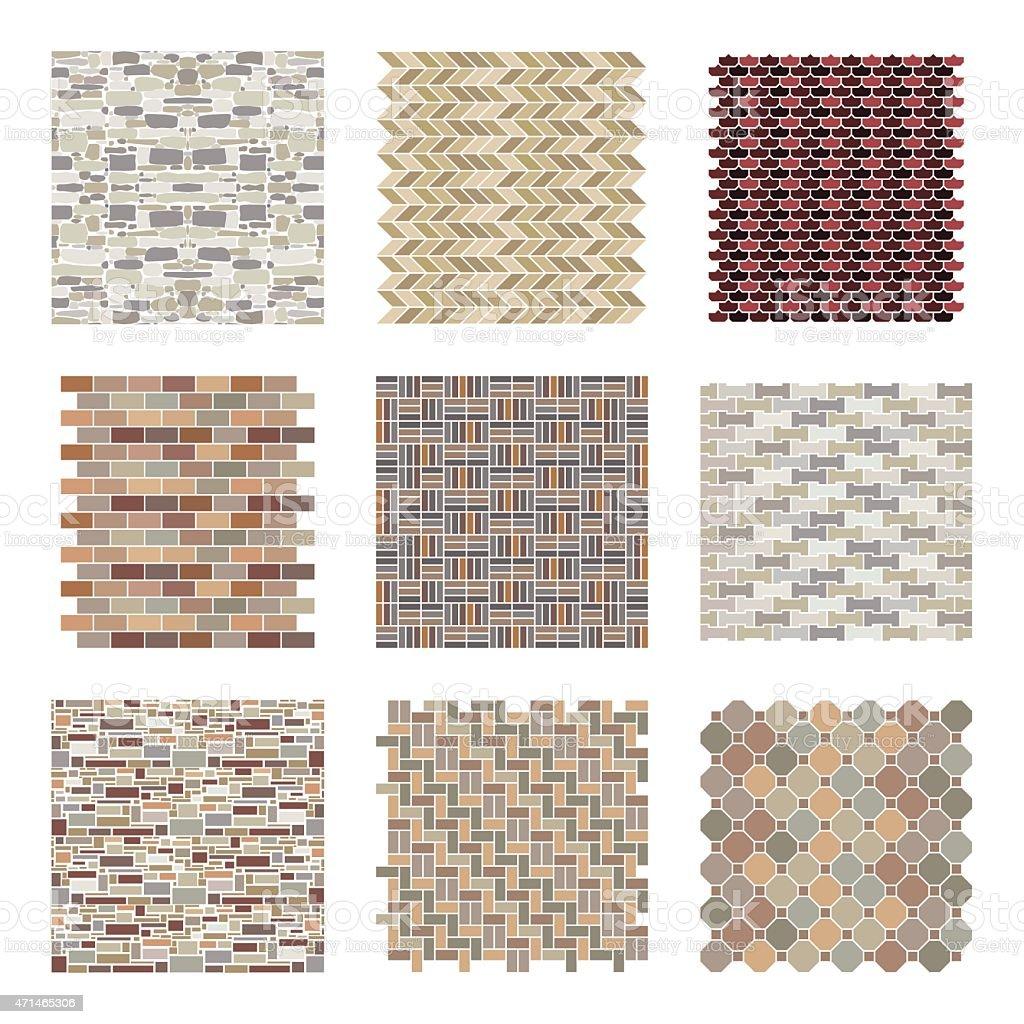 Architectural and landscape rocks and bricks patterns set vector art illustration