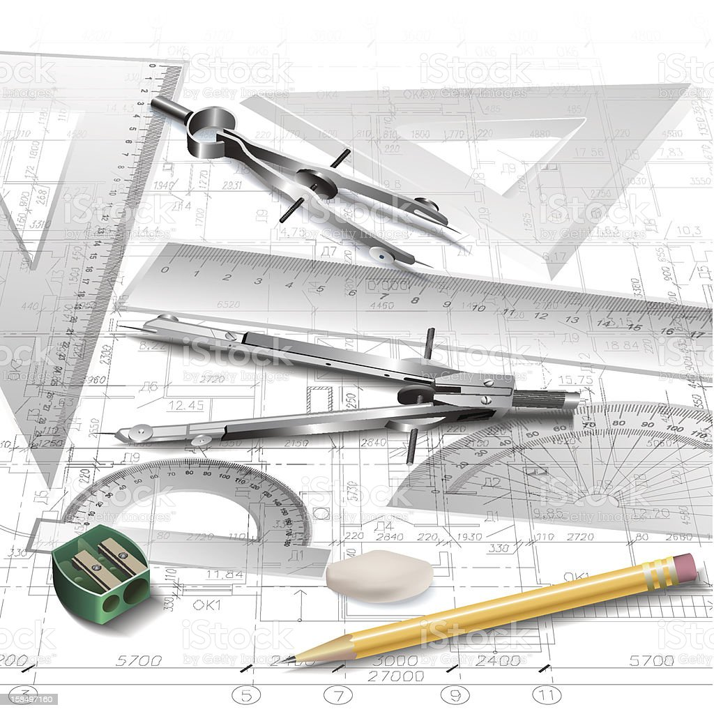 Architectural Background With A Set Of Drawing Tools Royalty Free  Architectural Background With A Set