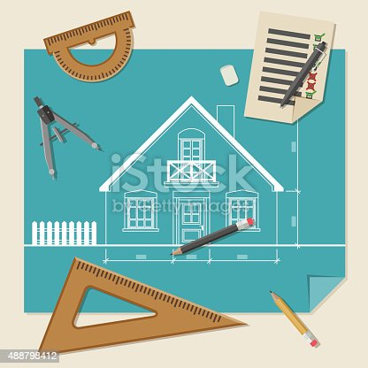 Simple vector illustration of blueprints with professional drawing equipment.