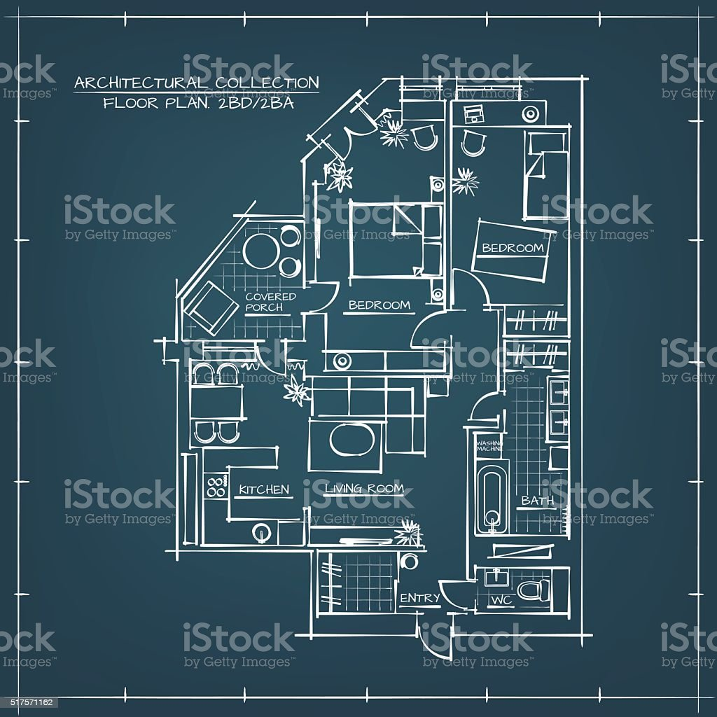 Architectural blueprint floor plan stock vector art more images of architectural blueprint floor plan royalty free architectural blueprint floor plan stock vector art amp malvernweather Image collections