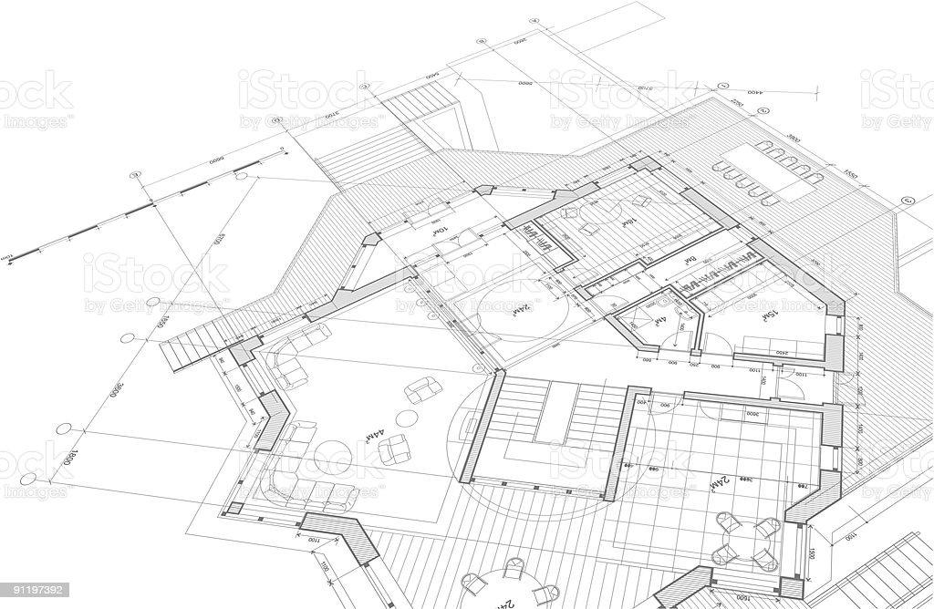 Arquitetônico blueprint-plano da casa - ilustração de arte em vetor