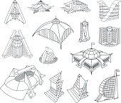 Architectural building doodles set. Vector illustration.