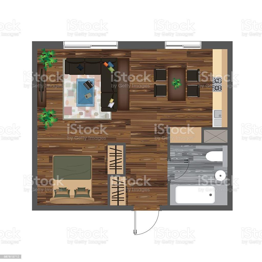 Vetores De Architectural Color Floor Plan Studio Apartment Vector Illustration Top View E Mais Imagens De Apartamento Istock
