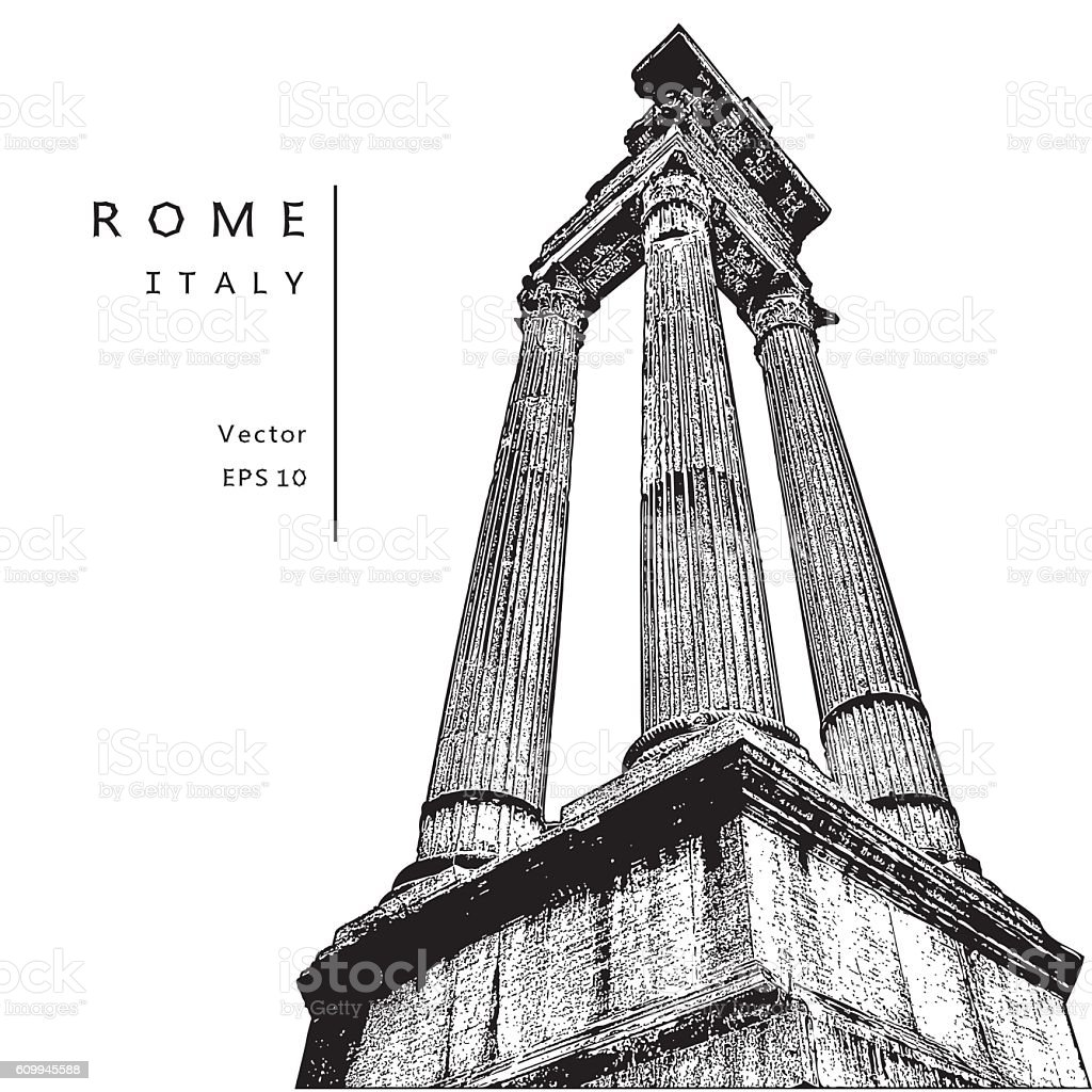 Architectural columns near the Theatre of Marcellus in Rome, Italy. vector art illustration