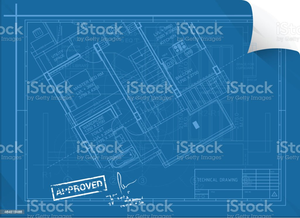 Architectural Construction Sheet with Approval Seal vector art illustration