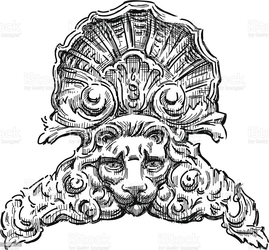 architectural detail with a lion head vector art illustration