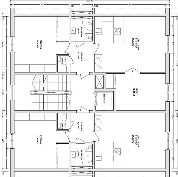 Architectural drawing of a apartment building vector art illustration