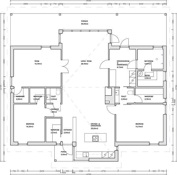 architektonische zeichnung eines hauses - hausprojekte stock-grafiken, -clipart, -cartoons und -symbole