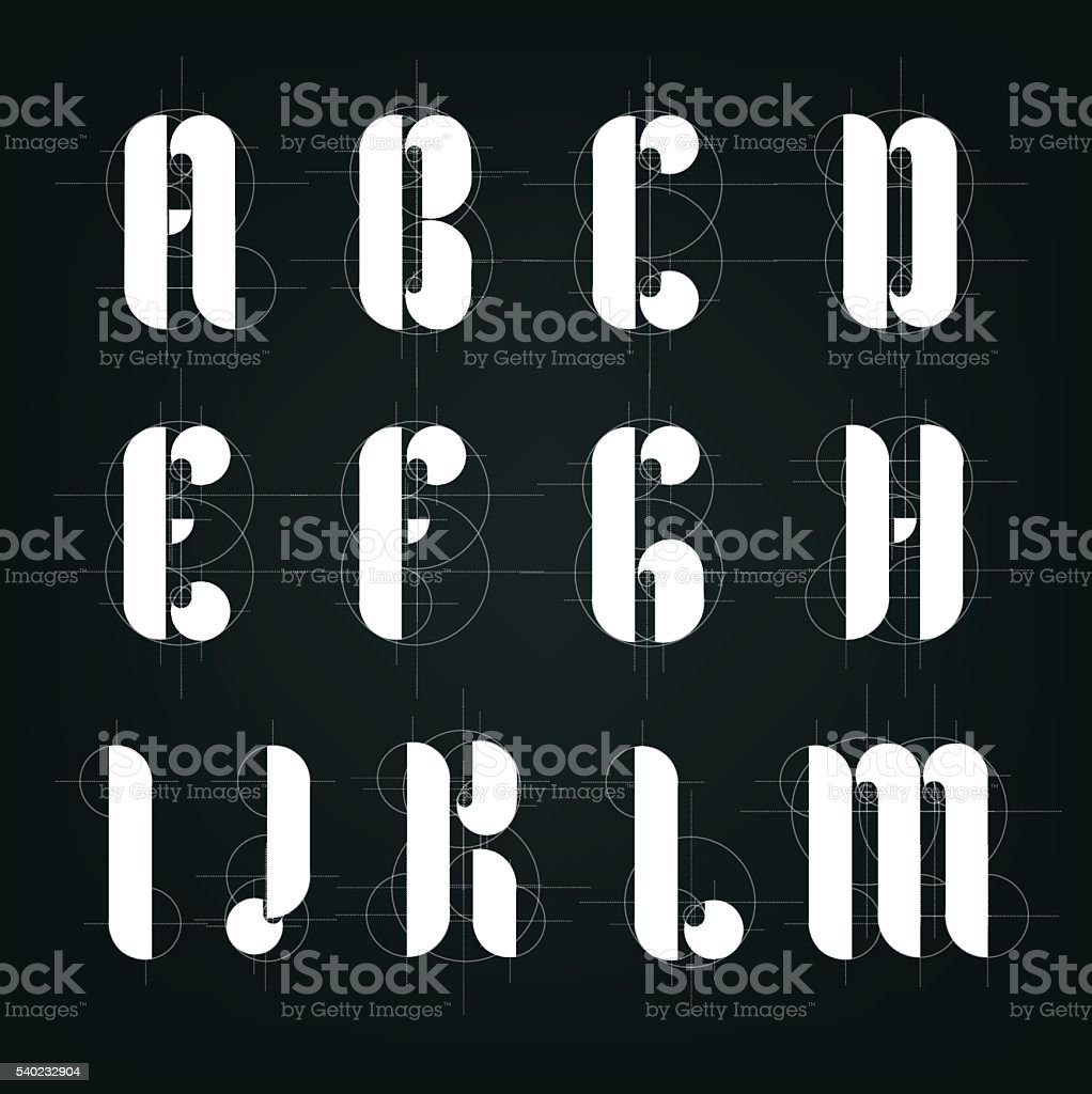 Architectural drawing plane alphabet. vector art illustration