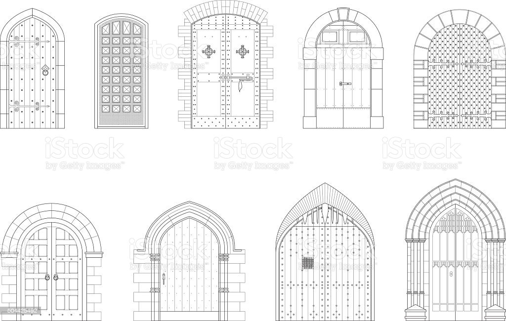 Architectural Elevations — Medieval Doors vector art illustration