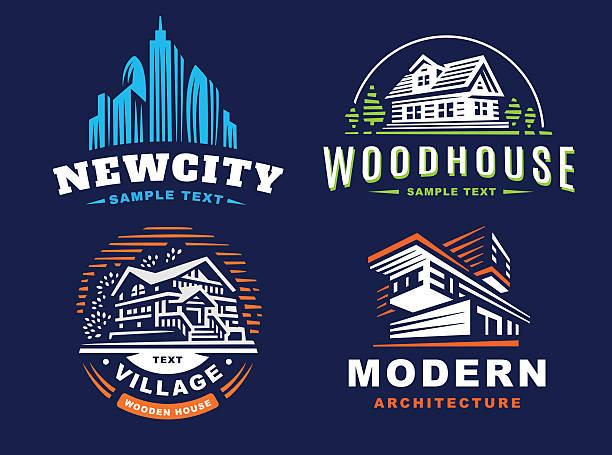 Architectural emblems Set on dark background vector art illustration
