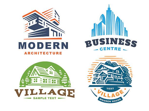 Architectural emblems Set on white background vector art illustration