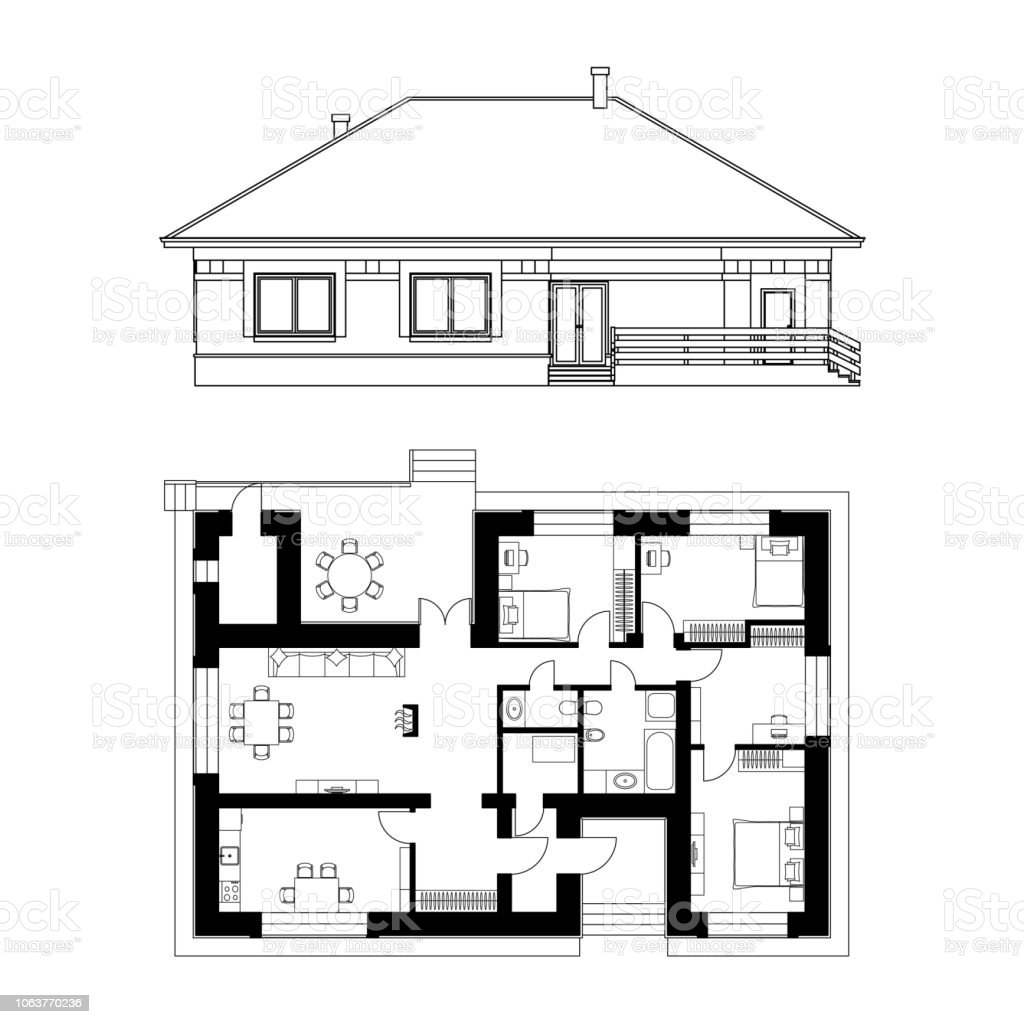Architectural Facade And Plan Of A House Vector Realistic ... on architect house planning, architect advertising, architect furniture, 3d home architect plans, architect community plans, architect blueprints, architect education, architect landscape, architect construction, architect tools, architect roof plans, architect house sketches, architect software, architect design, architect house ideas, architect hotels, architect wallpaper, architect engineers, architect drafting, architect office,