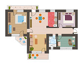 Architectural flat plan top view with living rooms bathroom kitchen and lounge furniture vector illustration.