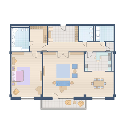 Architectural floor plan of the apartment. Colorful drawing. Top view with a set of furniture and plumbing equipment.