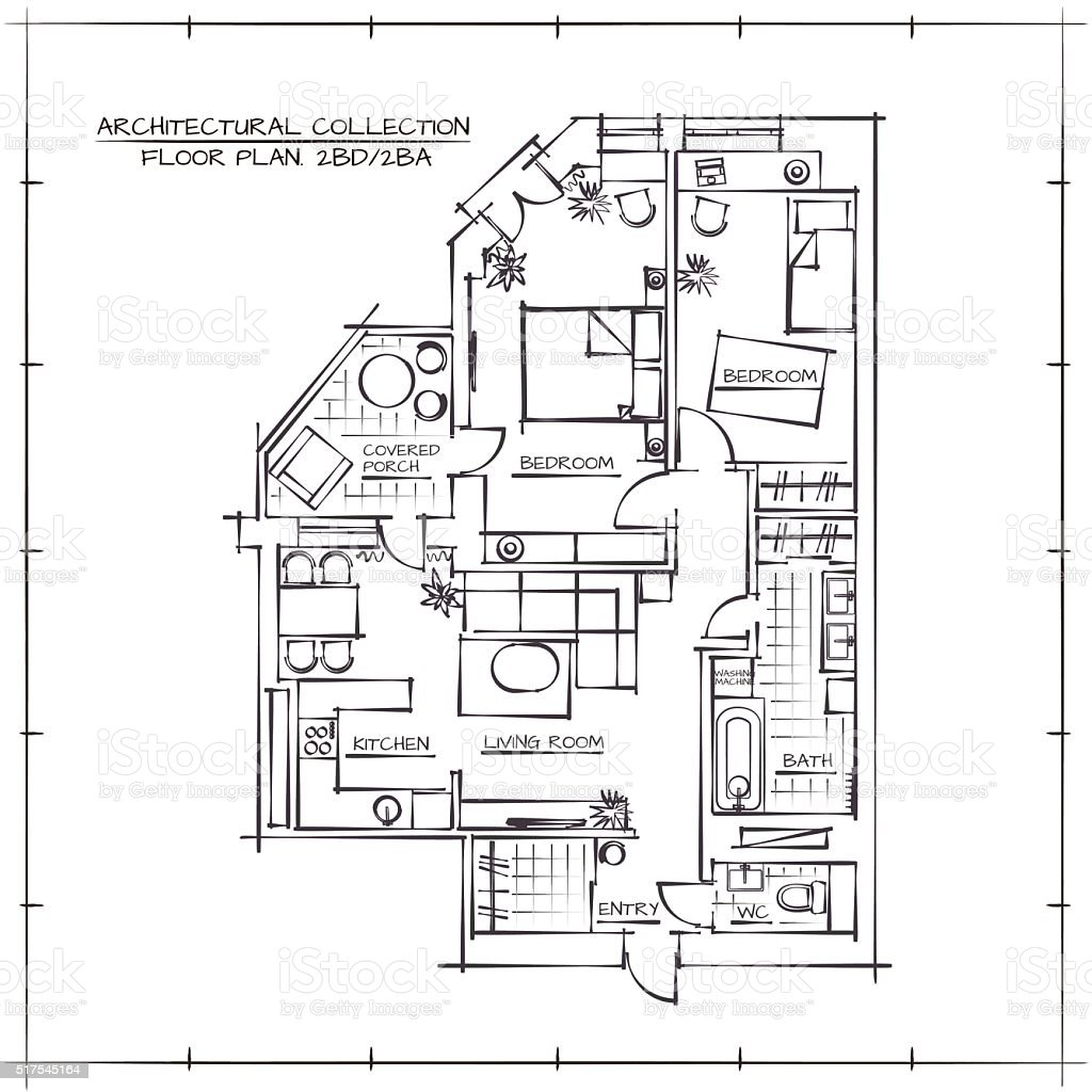 Architectural Floor Plan Stock Vector Art More Images of Apartment