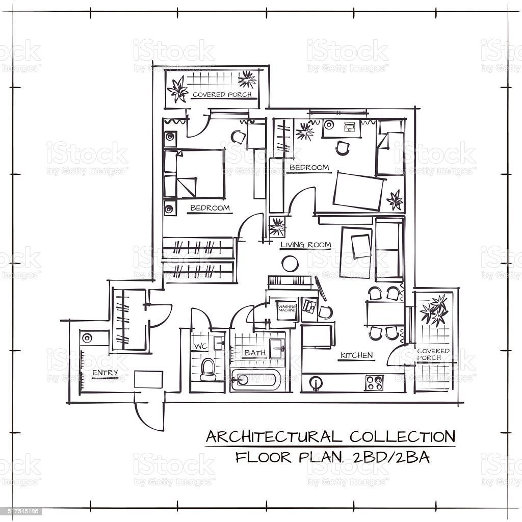 Plano de arquitectónico - ilustración de arte vectorial
