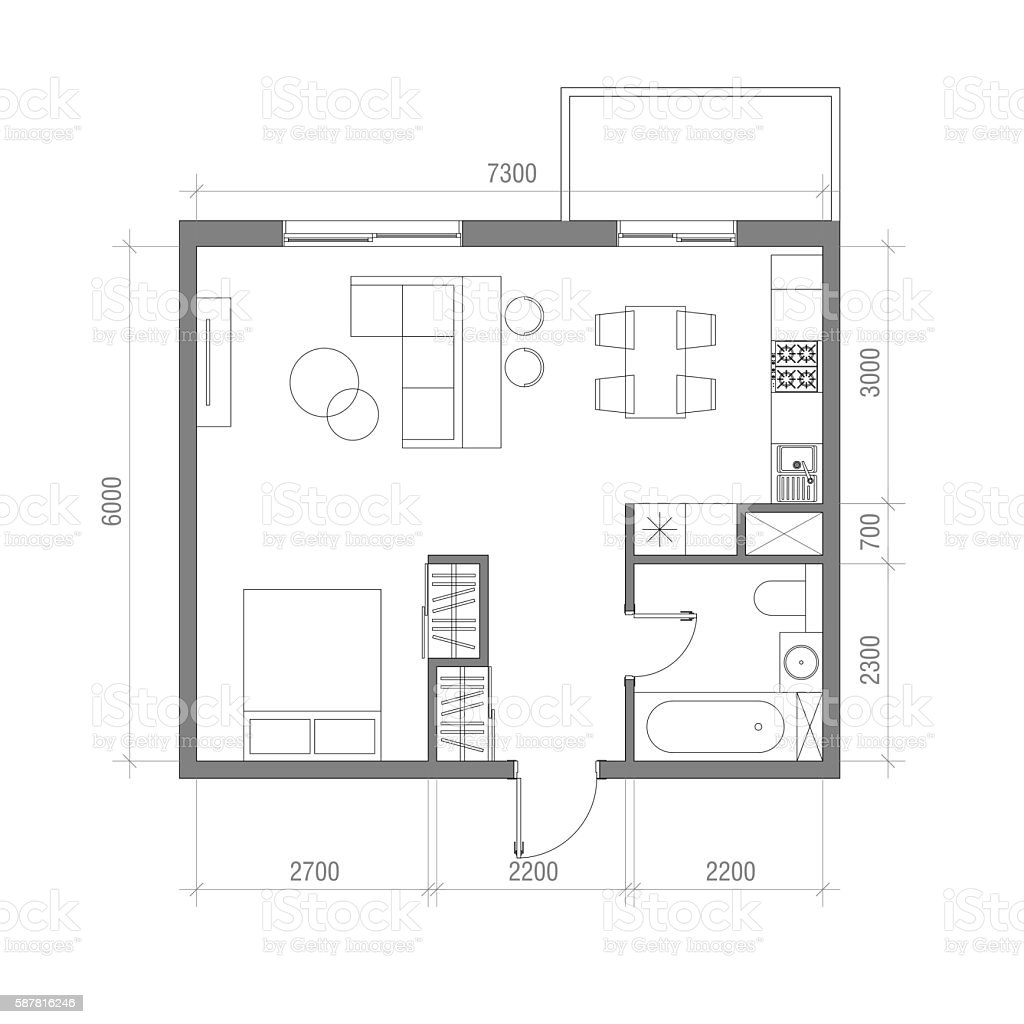 Architectural floor plan with dimensions studio apartment vector illustration top stock vector - Planning the studio apartment floor plans ...