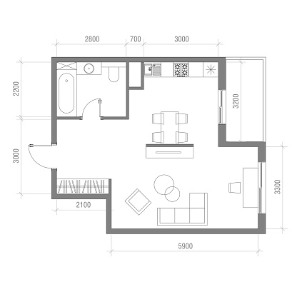 chanrion lounge apartment sized furniture | Architectural Floor Plan With Dimensions Studio Apartment ...