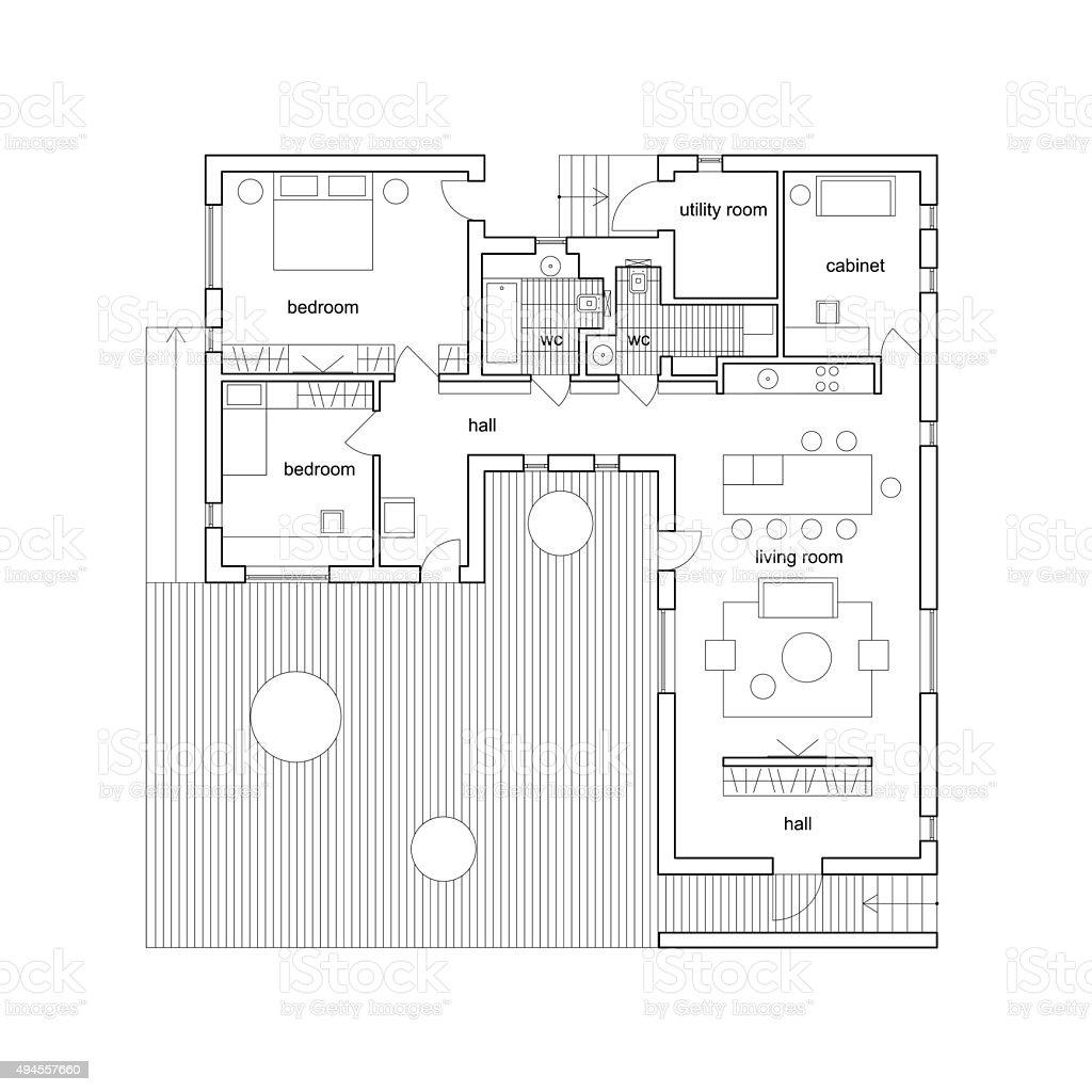Architektur plan haus stock vektor art und mehr bilder von for Haus plan bilder
