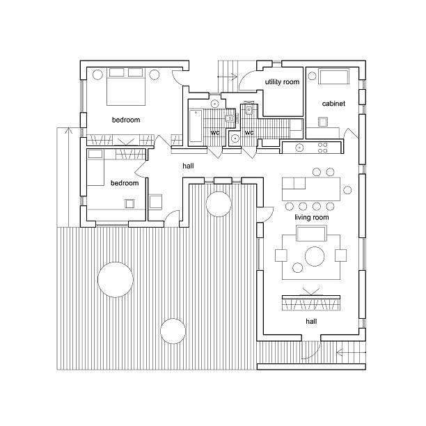 architektur plan haus. - hausprojekte stock-grafiken, -clipart, -cartoons und -symbole