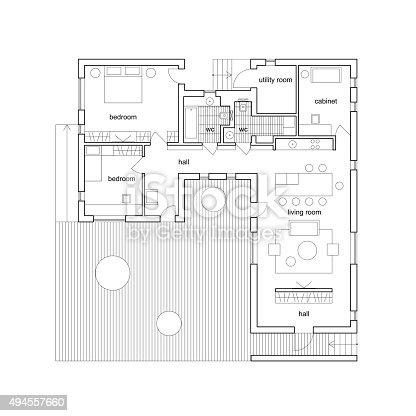 Plan architectural de la maison cliparts vectoriels et for Plan architecturale de maison