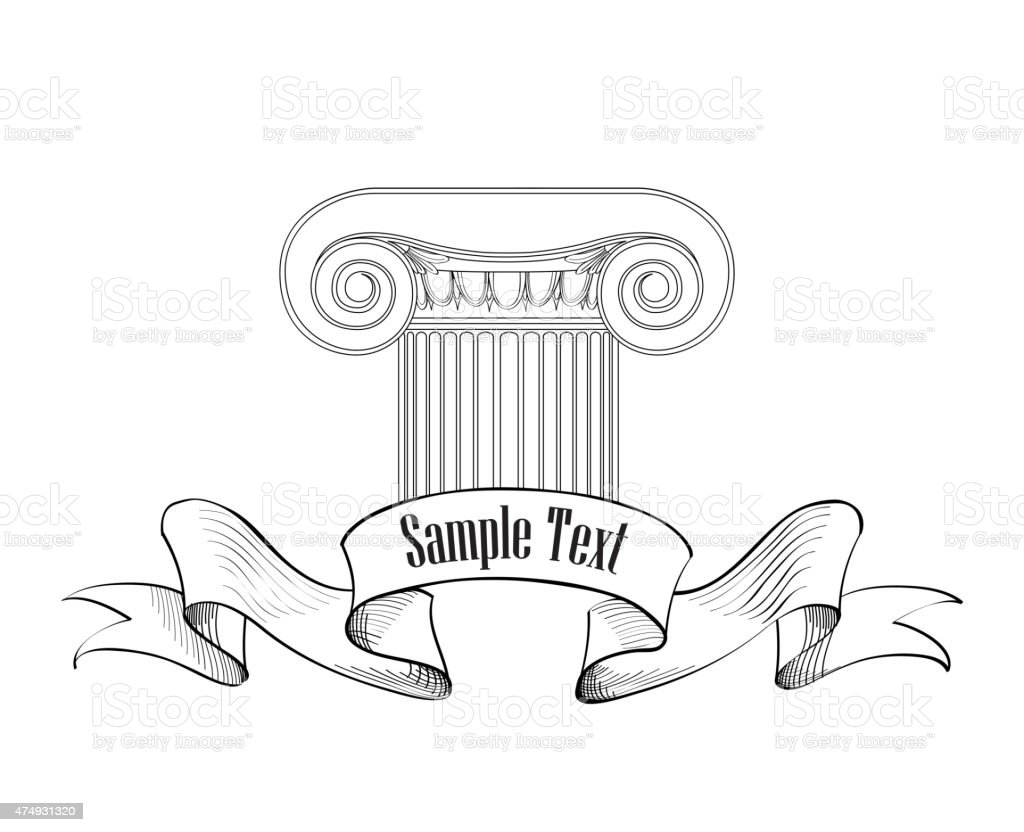 Architectural label. Classic column icon. vector art illustration