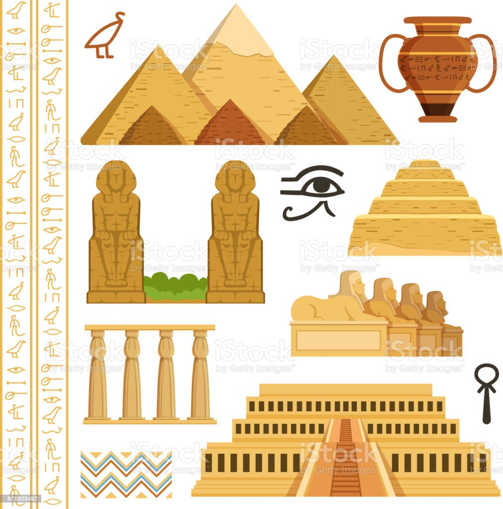 Architectural landmark of egypt. Different historical objects and symbols vector art illustration