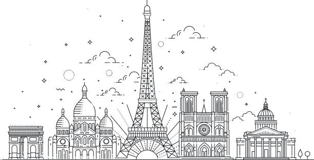 illustrations, cliparts, dessins animés et icônes de monuments architecturaux de paris - paris