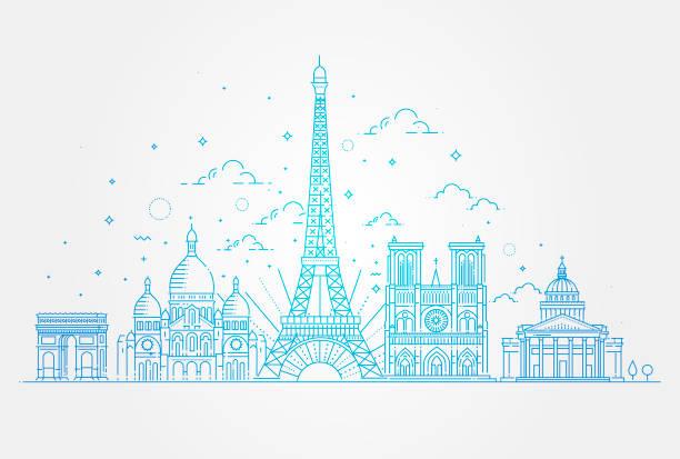 bildbanksillustrationer, clip art samt tecknat material och ikoner med arkitektoniska sevärdheter i paris - paris