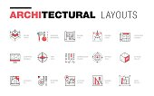 Architectural layouts in Trendy polygonal  line composition. Thin icons of buildings. Professional projects drawing. Awesome contour geometry style with pictogram of future for your design.