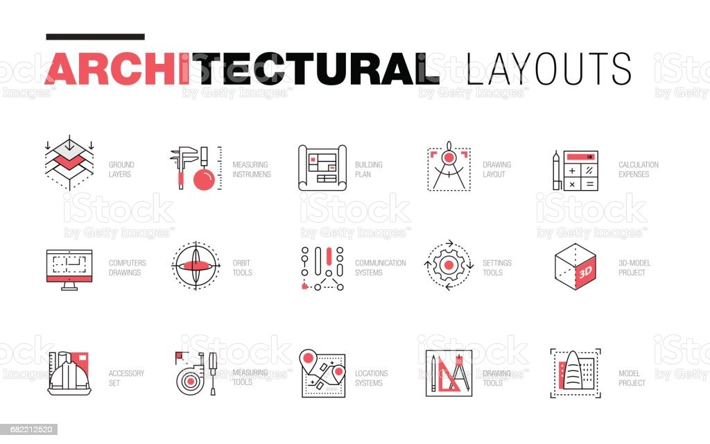 Architectural layouts in Trendy polygonal vector art illustration