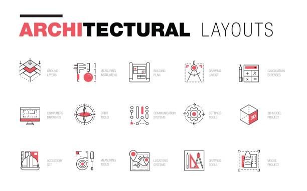 architektonische layouts in trendy polygonalen - architekturberuf stock-grafiken, -clipart, -cartoons und -symbole
