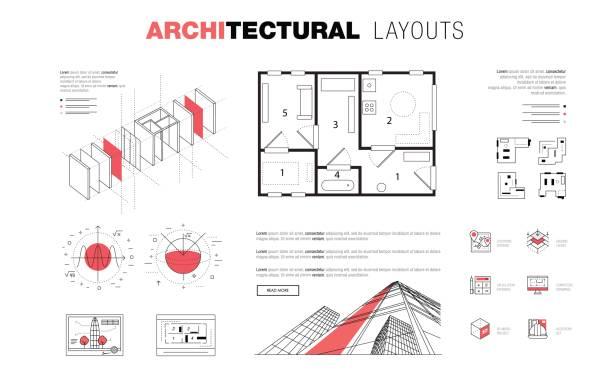 bildbanksillustrationer, clip art samt tecknat material och ikoner med arkitektoniska layouter i trendiga polygonal - man architect computer